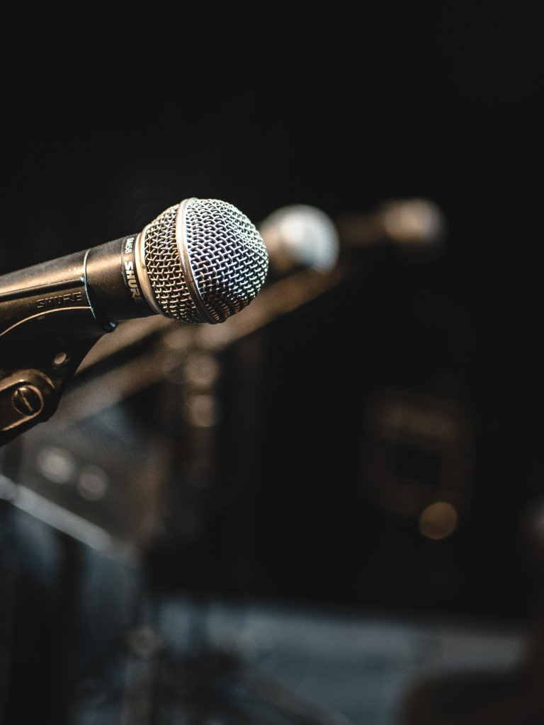 Microphones on a stage